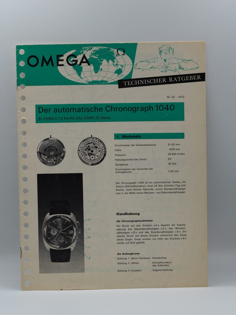 Technischer Ratgeber Omega Kaliber 1040 in deutsch von 1972