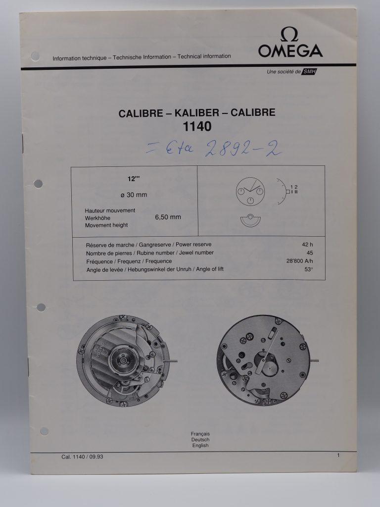 Technischer Ratgeber Omega Kaliber 1140, Nachdruck von 1993, dreisprachig