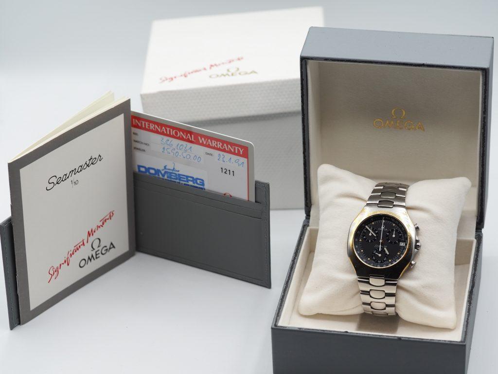 Omega Seamaster Polaris Chronograph, Ref. 386.1031, Full Set aus 1991