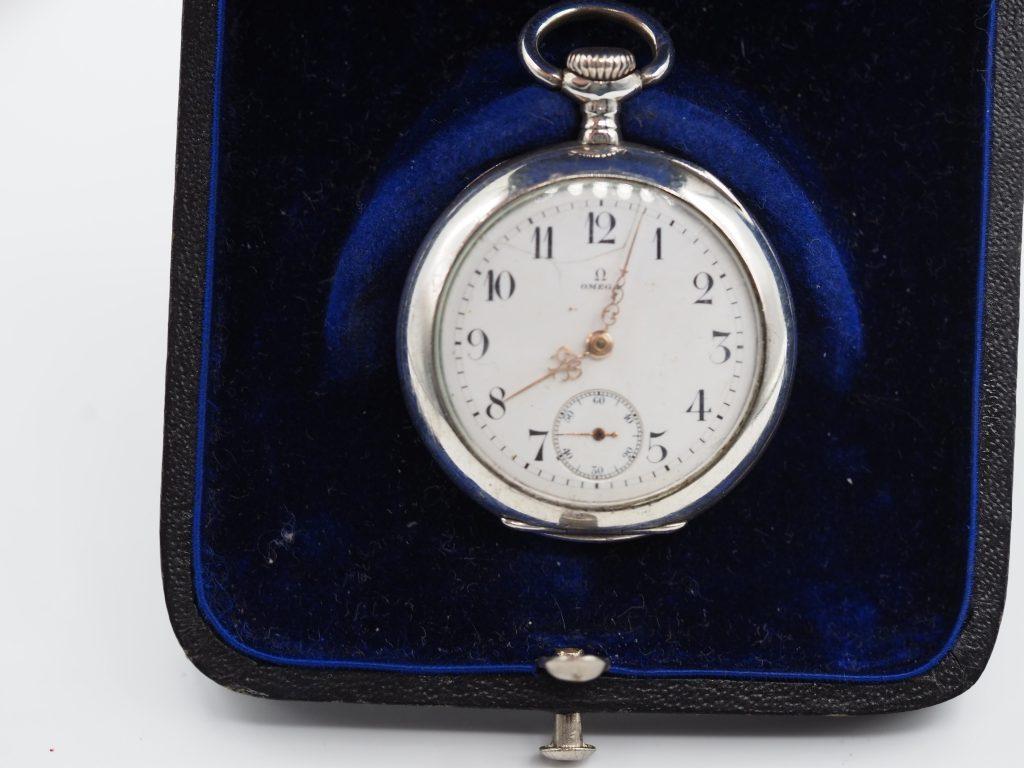 Omega Damen Taschenuhr ca.1914 mit Box von Guttenhöfer Würzburg