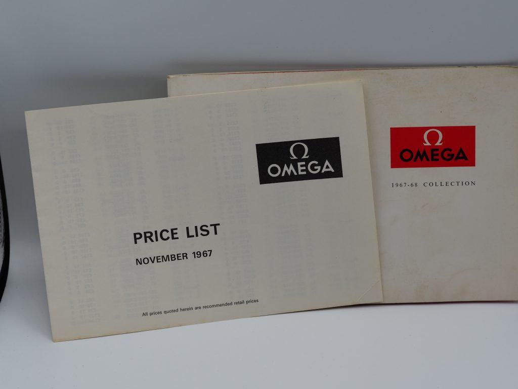Omega Katalog 1967/68 mit Preisliste in englisch mit Speedmaster Ed White