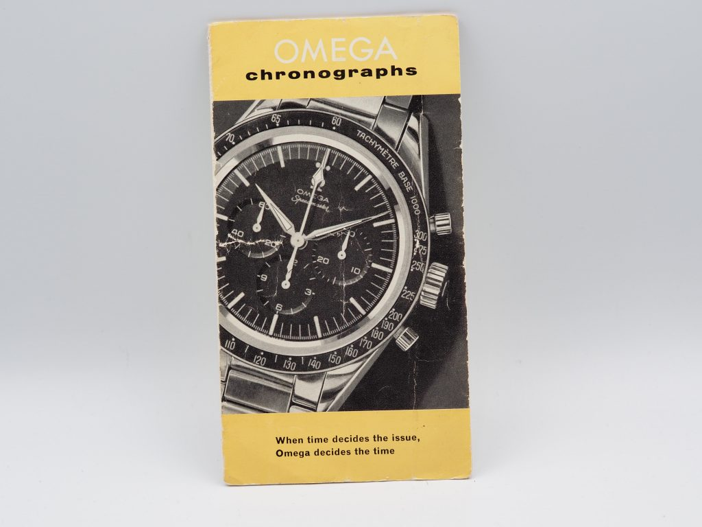 "Omega Speedmaster CK booklet aus ca.1959, ""When time decides the issue"""