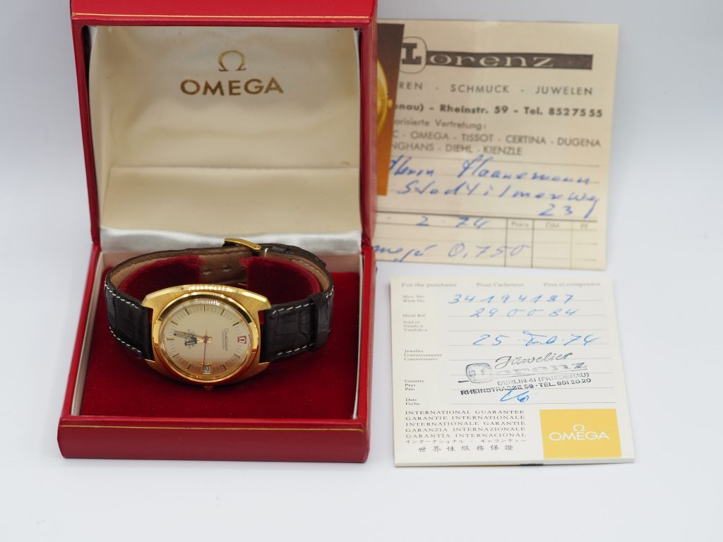 Omega Constellation Chronometer f300Hz, Ref. 198.002 aus 18K/750 Gold, Kaliber 1250, Full Set aus 1974