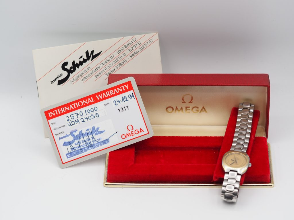 Omega Seamaster Polaris Stahl/Gold, Damenuhr Ref. 796.1022, Kaliber 1460, Full Set aus 1991