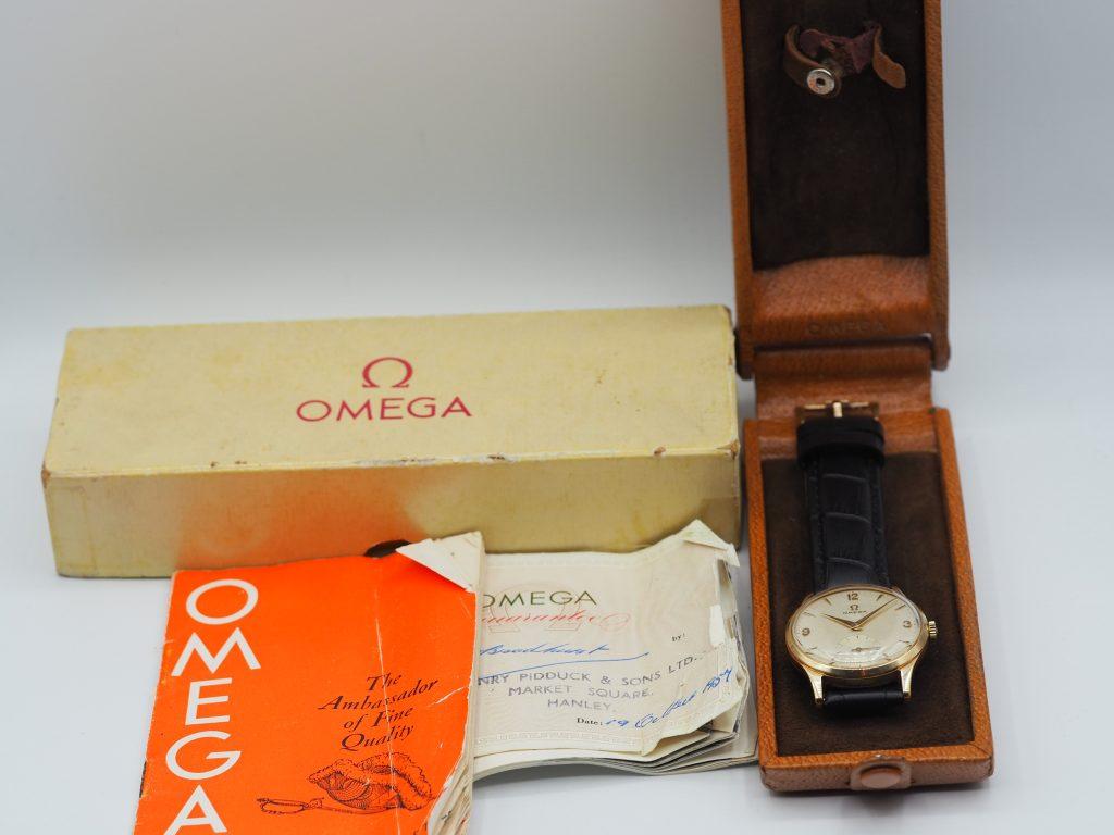 Omega Ref. Dennison/ England, 375Gold/ 9K, Kaliber 266, Full Set aus 1957